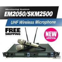 Frete grátis em2050 profissional uhf sistema de microfone sem fio com duplo skm2500 handheld transmissor karaoke microfone mic