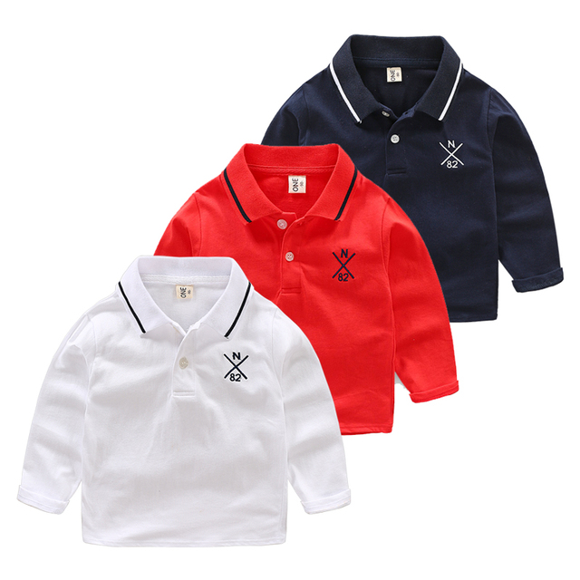 d029d9a7d Spring Autumn Long Sleeve Boys Shirt Turn Down Collar Cotton Tops Toddler  Black White Tees Children Clothes Camisa Polo Shirt