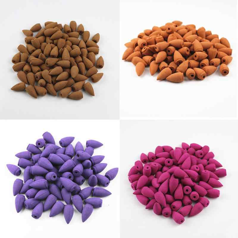 20pcs/set Natural Tower Backflow Incense Cones Hollow Buddhism Smoke Cones Lavender Jasmine Sandalwood Aromatherapy