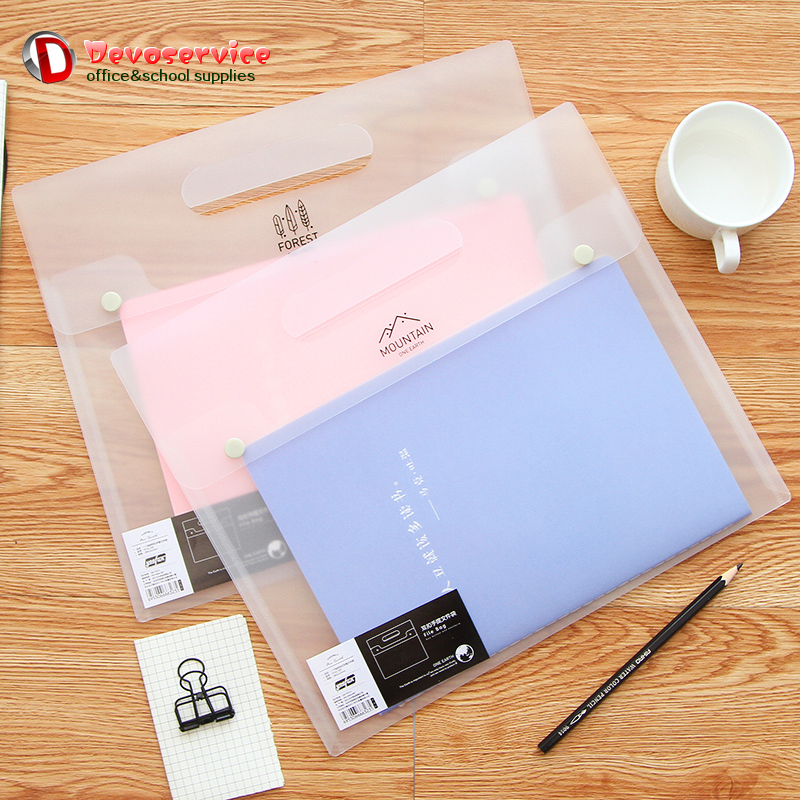 A4 Transparent PVC Hand File Folder Portable File Bag Double Buckle Hand Bag Document Bags Netbook Protect Sleeve Office School