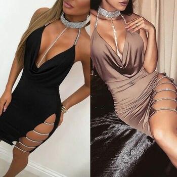 2019 New Sexy Women's Bandage Bodycon Evening Party V Neck Club Short Mini Dress 3