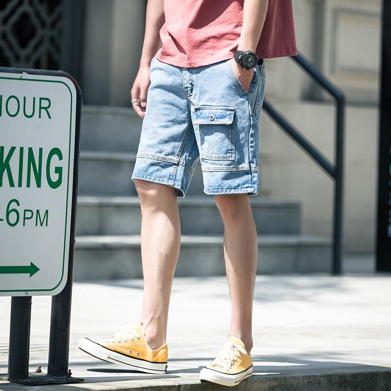Men's Jeans 2019 Men's Multi-Pocket Straight Loose Denim Shorts Fashion Personality Slim Casual Travel Wild Men's Clothing