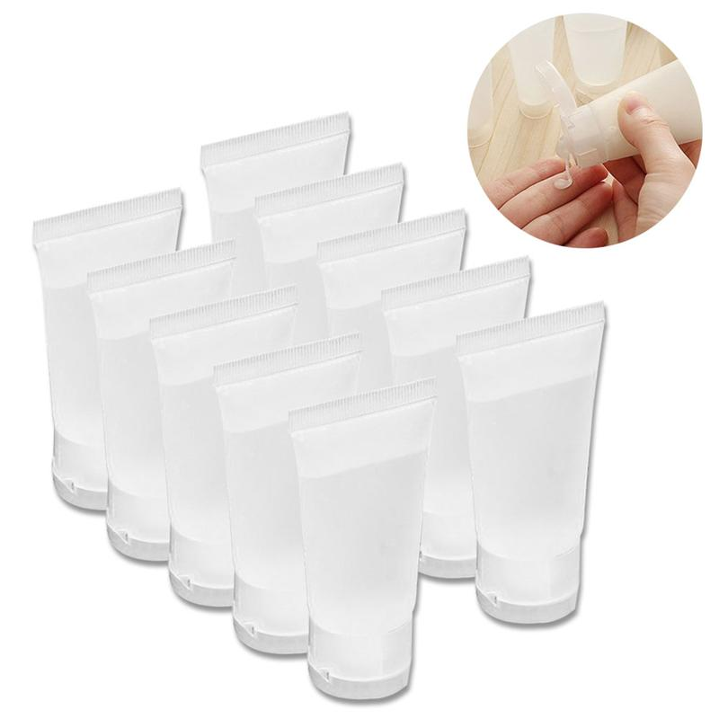 10pcs 10ml Refillable Bottle Squeeze Travel Bottle Storage Container With Flip Cap For Shampoo Facial Cleanser Toner Body Lotion