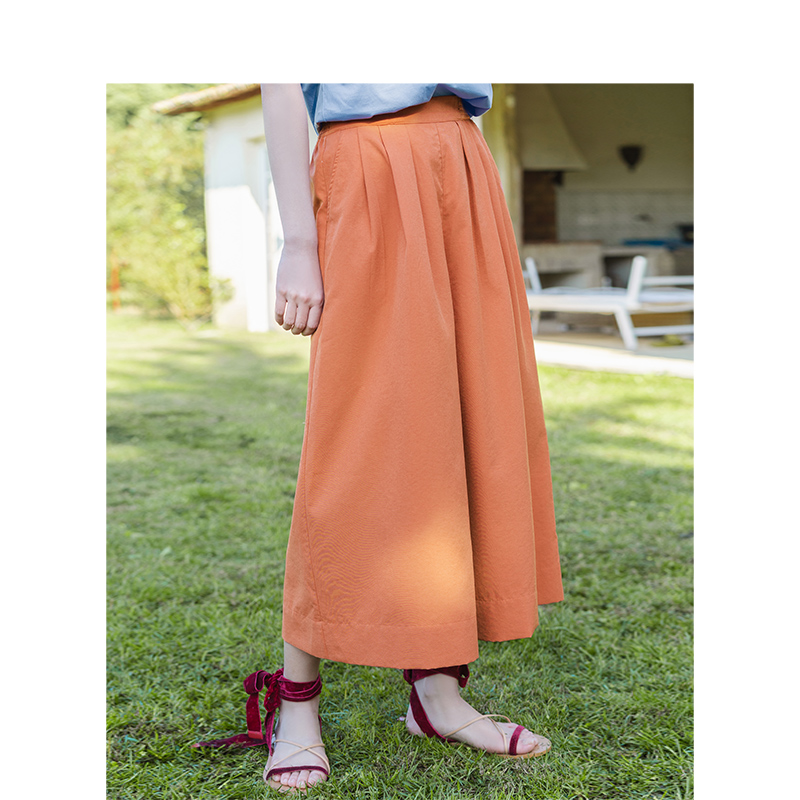 Image 2 - INMAN Summer Solid Elastic Waist Fold Slim Comfortable Minimalism All Matched Literary Women Loose PantsPants & Capris   -