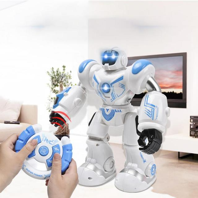 Robot eléctrico inteligente con Control remoto para niños, juguete educativo con luz LED para cantar y bailar