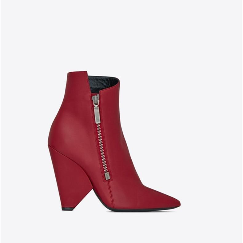 Talons Pictures multi as Chaussures Abesire Pointu red À Mode Femmes Robe Bottines Côté Solide Filles Hauts Piste Spike Glissière Black Bout Dames Courtes De UXw1RU