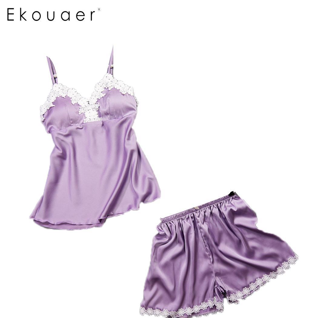 Ekouaer Shorts   Pajamas     Set   Women Summer Lace Sleepwear V-Neck Adjustable Spaghetti Strap Floral Padded   Pajama     Set   Nightwear