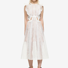 Pattern 2018 Summer Self-portrait White Lotus Full Dress