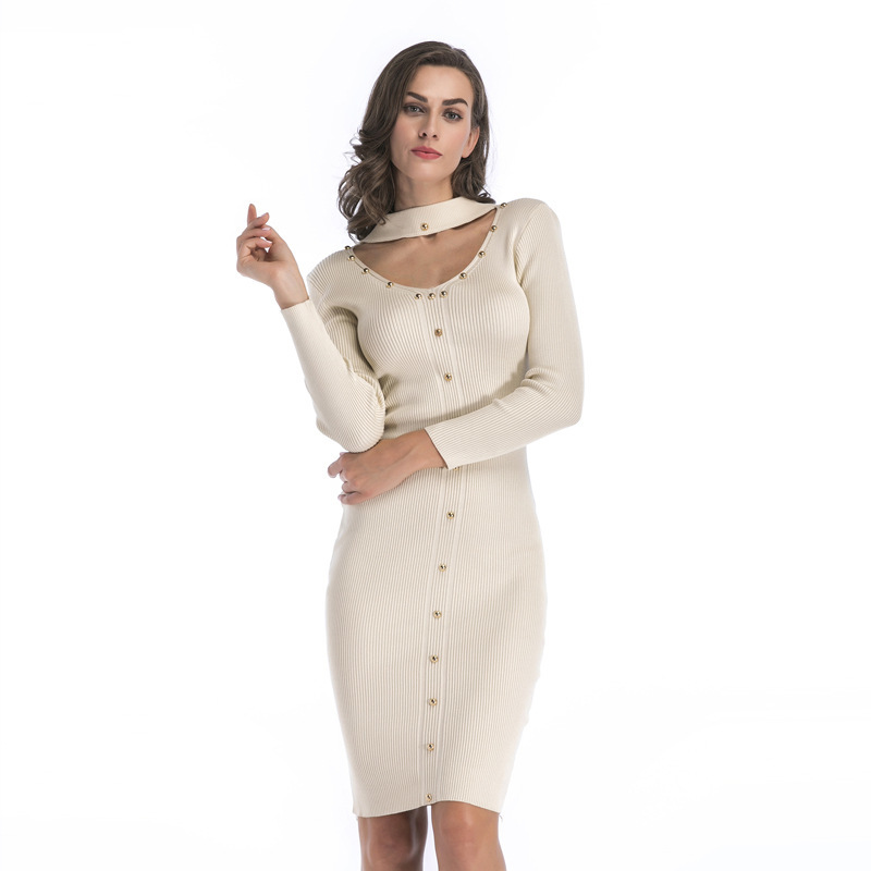 Women's Elegant Medium Knitted Dress Willow Nail Decoration Trim O Neck Pencil Dress Casual Fashion Party Dress Women G3P7