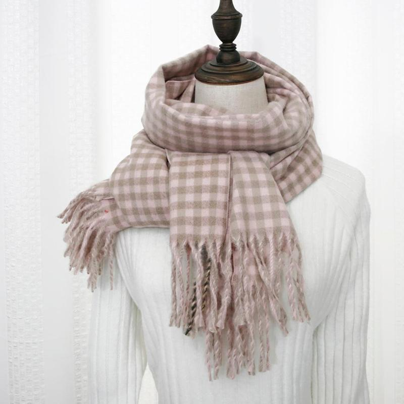 Autumn Winter Women Plaid Tassel Scarf Cashmere Lattice Shawl Korean Tippet