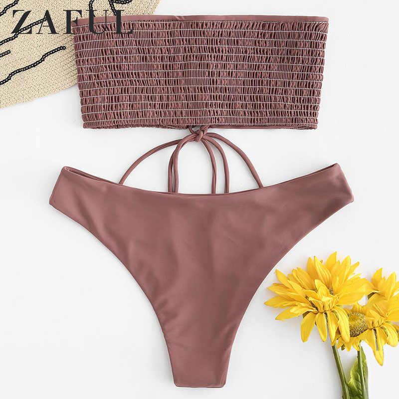 ZAFUL Lace-up Smocked Bandeau Bikini Set kobiety Bikini wysoko wycięte stroje kąpielowe strój kobiet Sexy kostiumy kąpielowe Biquini Feminino