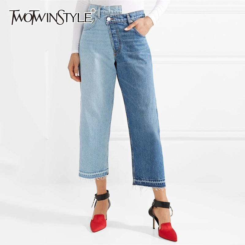 TWOTWINSTYLE Denim Straight Trousers For Women High Waist Patchwork Hit Color Ankle Length Jeans Female 2019 Fashion Tide