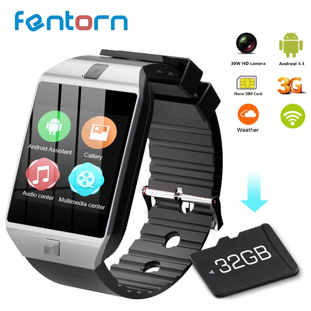 Fentorn QW09 montre intelligente hommes Android 4.4 MTk6572 512 mo + 4 GB 3G wifi Bluetooth Smartwatch lecteur MP3 météo pour téléphone Android iOS