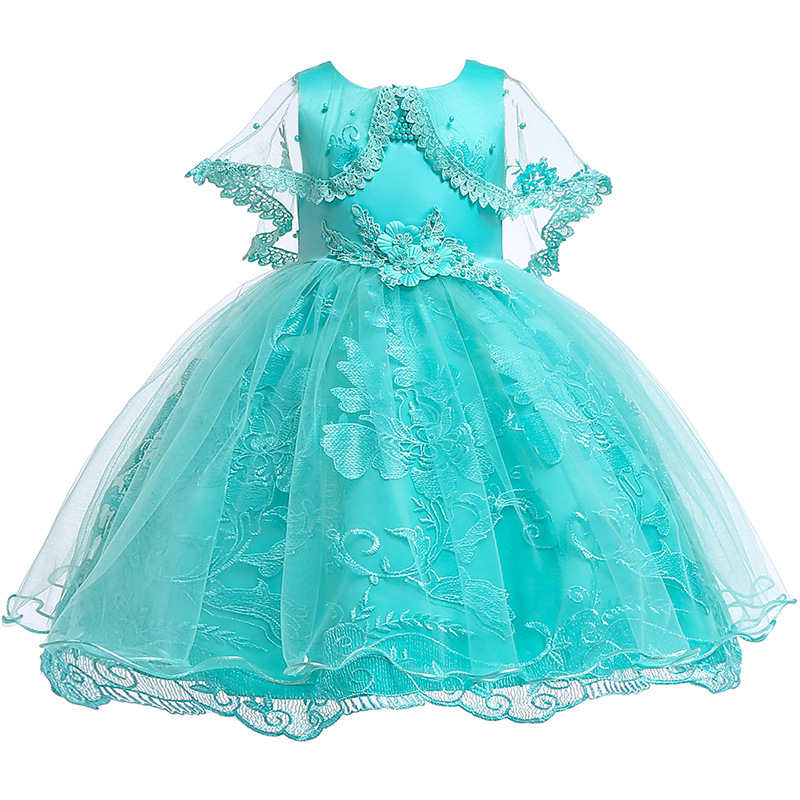 Children Flower Girls Dress Wedding Party Dresses For Kids Pearls Beading Formal Ball Gown Evening Baby Outfits Tulle Frocks