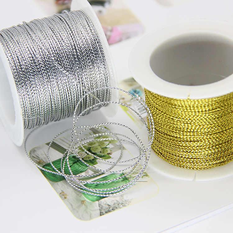 20 mètres 1mm corde or argent cordon fil cordon cordon sangle ruban corde étiquette ligne Bracelet faisant anti-dérapant vêtements cadeau décor