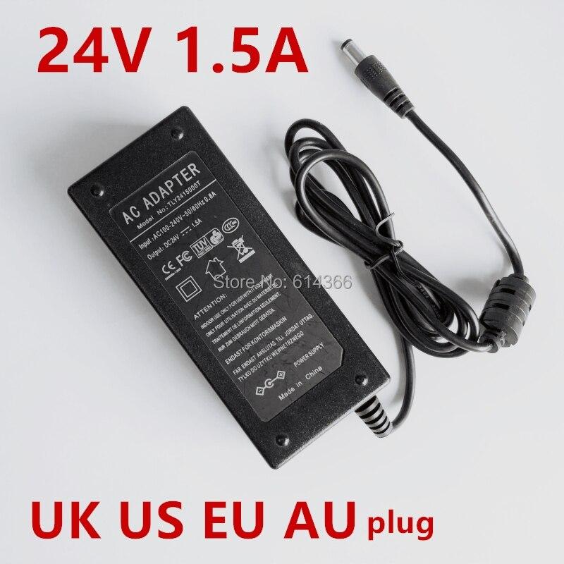 1PCS 36W 1.5A 24V Power Adapter 24V 1.5A 1500mA 36W Adapter 24VDC 1PCS AC line 1.2M US EU UK AU plug  100-240VAC1PCS 36W 1.5A 24V Power Adapter 24V 1.5A 1500mA 36W Adapter 24VDC 1PCS AC line 1.2M US EU UK AU plug  100-240VAC