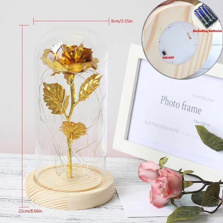 24k Gold Foil Plated Rose Wedding Decoration Golden Rose Gold Dipped artificiales 24k Gold Rose artificial flower Personalized