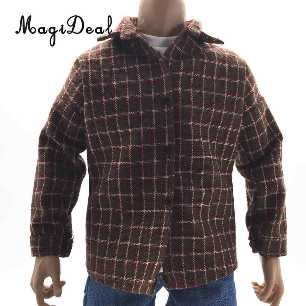 브랜드 뉴 1/6 스케일 캐주얼웨어 남성 격자 무늬 셔츠 복장 천 12 인치 액션 피규어 인형 용 남성 의류 DIY Acc