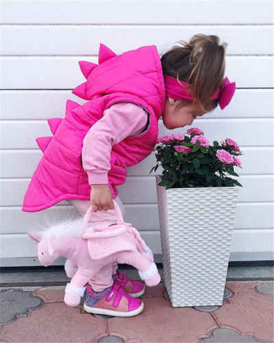 Зимние жилеты для малышей, розовый свитер с динозавром для маленьких девочек, пальто с капюшоном, зимняя теплая верхняя одежда для детей 1-5 лет