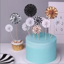 Free Shipping Ins Style Pinwheel Cupcake Toppers Christmas Cake Decoration Wedding Children Birthday Favor