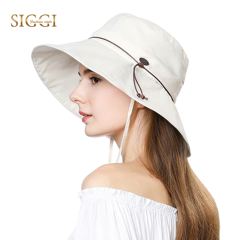 fa0bf404c50 FANCET Womens Summer Sun Hats UPF50+ Linen Ponytail Wide Brim Adjustable  Windproof Cord Gorras Beach Fishing