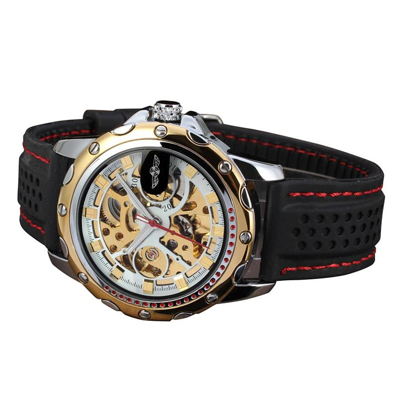 WINNER Classic Golden Skeleton Mechanical Watch Men Stainless Steel Strap Top Brand Luxury Man Watch Vip Drop Shipping Wholesale 4