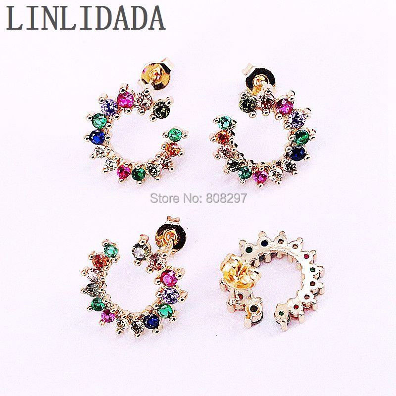 6Pair New Arrival Gold Color Micro Pave Rainbow Cubic Zirconia Fashion Stud Earrings for Girls Women