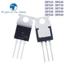 10PCS IRF510 IRF520 IRF530 IRF540 IRF630 IRF640 IRF730 IRF740 IRF830 IRF840 טרנזיסטור כדי 220 TO220