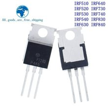 10PCS IRF510 IRF520 IRF530 IRF540 IRF630 IRF640 IRF730 IRF740 IRF830 IRF840 Transistor ZU-220 TO220