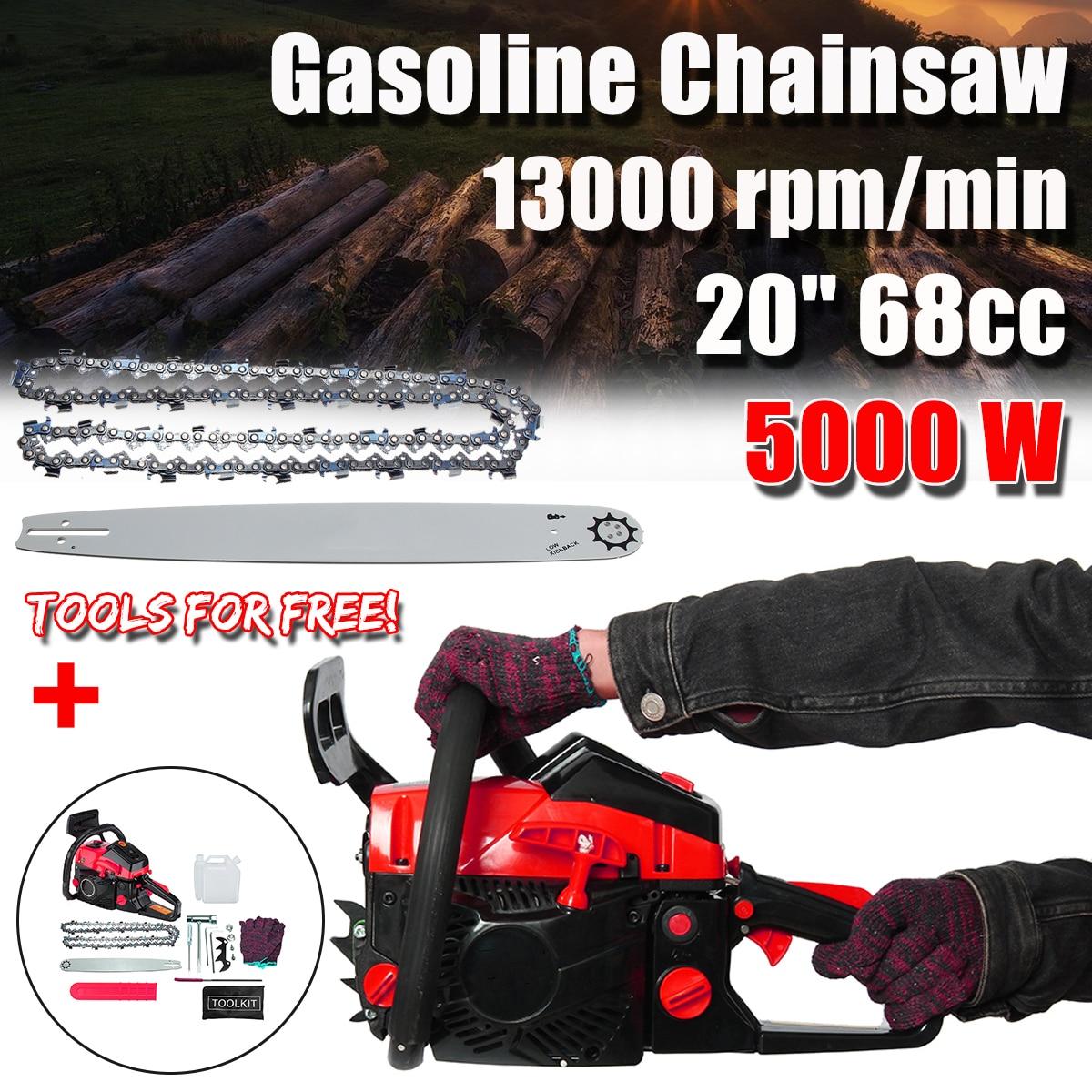 20 Inch 5000w 68cc Gas Gasoline Powered Chainsaw Garden Instrument Wood Pruning Cutting Woodworking Gasoline Chainsaw Refit Kit