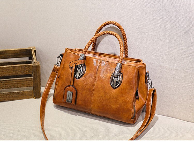 Casual Boston Totes Bags Women PU Leather Brown Vintage Handbag