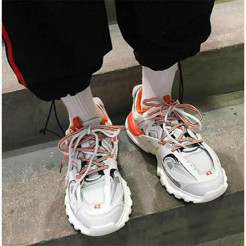 مصمم الهيب هوب رجالي أحذية كاجوال الرجال Tenis Sapato Masculino الثلاثي s عالية أعلى أحذية رياضية مكتنزة سلة أحذية رجالي