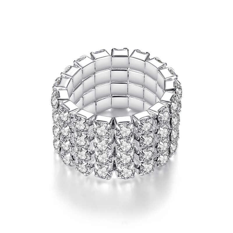 ขาย Bright Silvery AAA + Shining CZ ยืดหยุ่นแหวนคริสตัล Rhinestone แหวนผู้หญิงเครื่องประดับ Drop Shipping