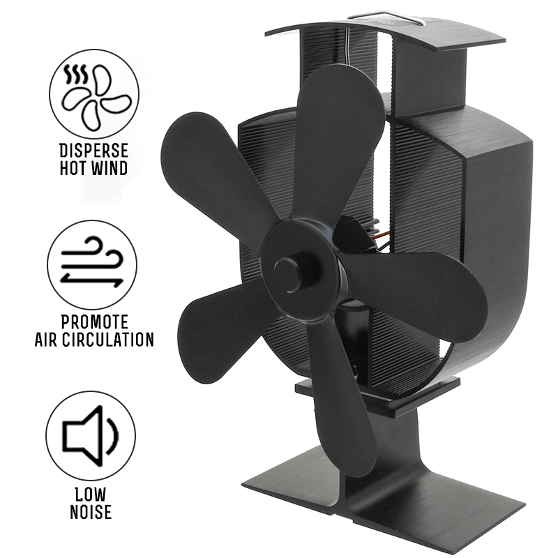Black 5 Blades Heat Powered Stove Fan Log Wood Burner Ecofan Quiet Black Home Fireplace Fan Efficient Heat Eco Stove Top Fan