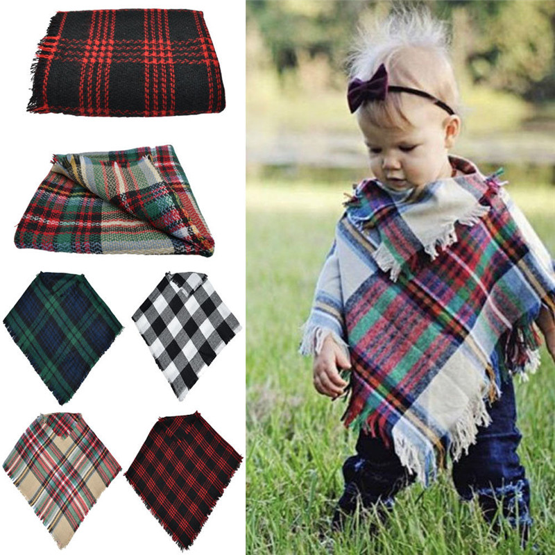 Fashion Plaid Casual 3-5 Years Kid Toddler Baby Girls Winter Warm Wool Scarf Tippet Cape One Size For Children
