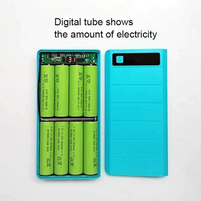 Бесплатная Сварка цифровой мобильный Банк питания DIY наборы 8*18650 батарея коробка чехол + 5 В 1A 2A зарядная плата зарядное устройство Модуль