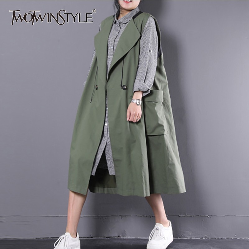 TWOTWINSTYLE Sleeveless Windbreaker Women Big Pockets Vest Trench Coat Female Casual Clothes Korean 2019 Autumn Large