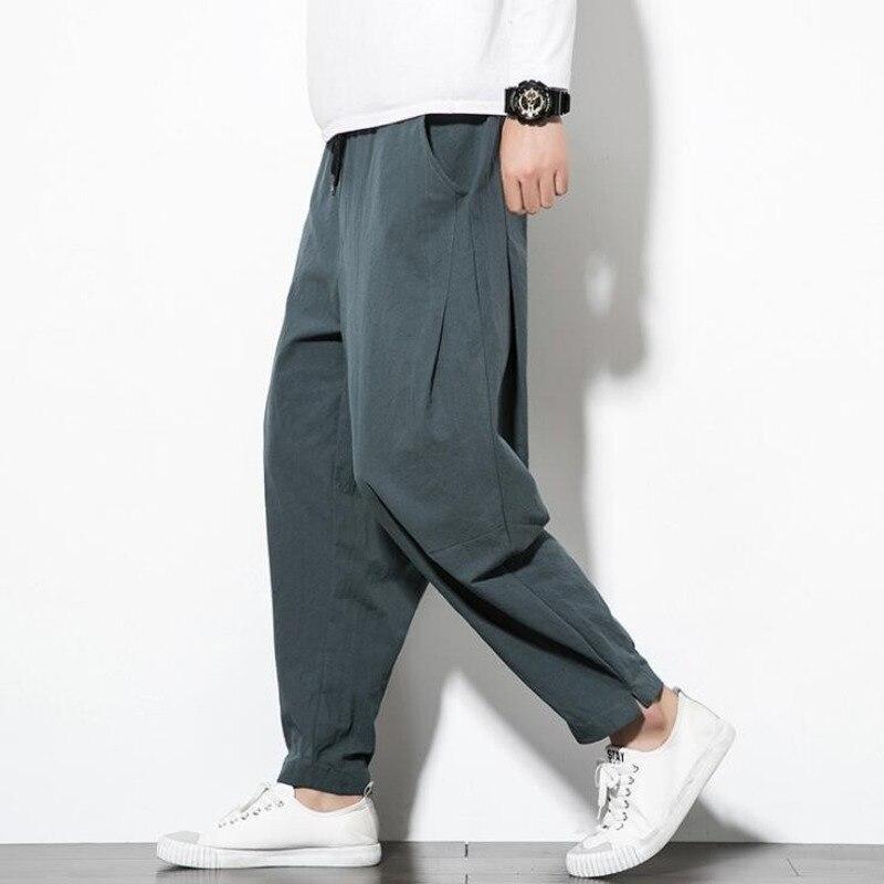#4549 Lente Retro Linnen Harembroek Mannen Chinese Stijl Elastische Taille Plus Size 5xl Mode Mens Zweet Broek Losse Streetwear Mooie Glans