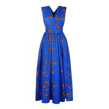 e7cc86a040 Summer African Maxi Dress Women Lace Up Split Design Sexy Robe Red Fashion  Floral Print Casual Blue Backless Party Long Dresses