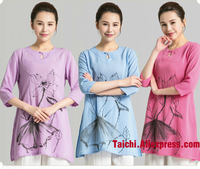 Hand Painted Leisure Chinese Style Tai Chi Uniform Flax Kung Fu Clothing Summer Breathable Part Sleeve Jacket Violet Pink Blue