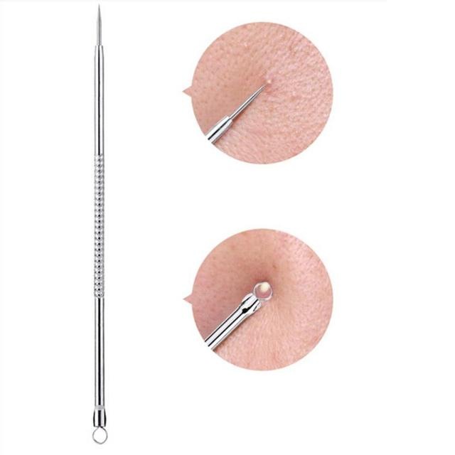 1pcs Silver Blackhead Comedone Acne Blemish Extractor Remover Stainless Needles Remove Tools removedor de cravo HOT