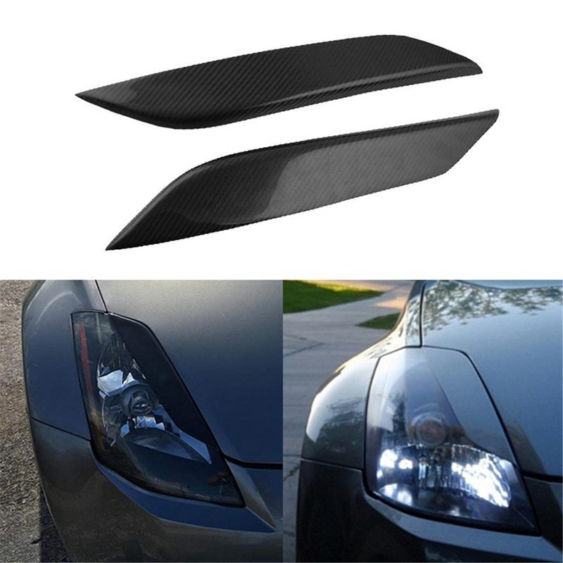 Feux de voiture Sourcils Couverture Décoration Autocollants En Fiber De Carbone Pour Nissan 350Z Fairlady Z Z33 Voiture Accessoirise