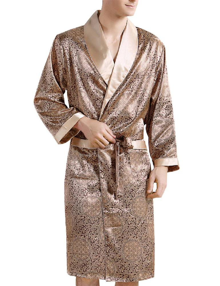 MISSKY Men Sleepwear Comfortable 100% Silk Satin Robe Bathrobe Luxury Sleepwear Loungewear