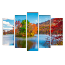 Canvas HD Printing 5 Pieces Four Season Tree Modular Picture Scenery Wall Art Framework Oil Paintings Living Room Posters