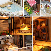 Chinese Courtyard Dollhouse DIY Miniature Furniture Wooden Toys Kids Gift