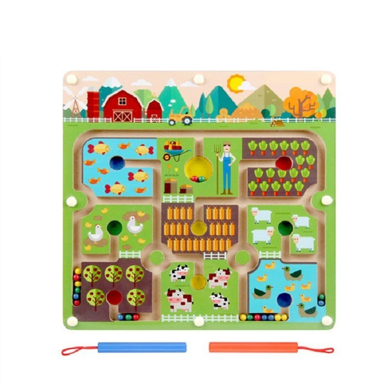 Magnetic Bead Pen Maze Farm Theme Parent-Child Games Puzzles Montessori Wooden Early Education Toys For Preschool Kids
