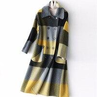 LANMREM 2018 Новое двустороннее шерстяное клетчатое пальто для женщин осень зима длинный тип теплая куртка модная с длинным рукавом YF598 YF598