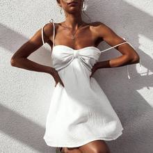 Try Everything Backless Beach Summer Dress 2019 New Fasion White Dresses For Women Tunic Short Sexy Mini Spagetti Strap