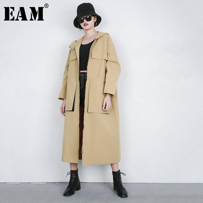 [EAM] 2019 New Spring Summer Lapel Long Sleeve Khaki Pocket Split Joint Loose Big Size Windbreaker Women   Trench   Fashion JQ630