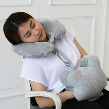 Comfortable Plush U-Shaped Travel Accessories  Pillow For Airplane Neck Support Head Rest Cushion Office Nap Pad Trip Supplies loen new memory foam functional neck pillow u shaped travel pillow car head neck rest pillow seat cushion for travel home office